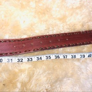 Accessories - Brown leather bronze gold studs studded belt